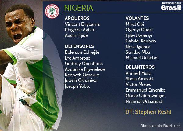 Equipo de Nigeria Mundial 2014